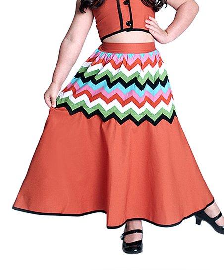 miss fashion orange chevron maxi skirt infant