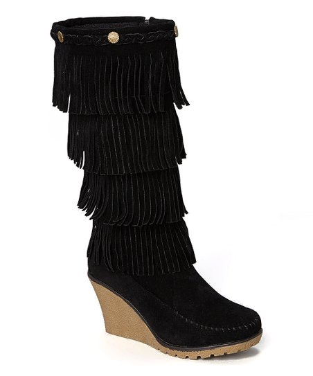 shoes of soul black fringe wedge boot zulily