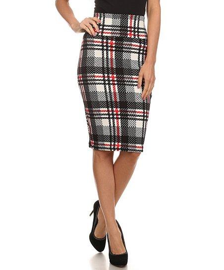 red plaid pencil skirt eBay
