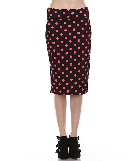 lara fashion black fuchsia polka dot pencil skirt plus