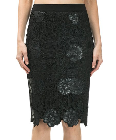 cqbycq black lace overlay zip pencil skirt zulily