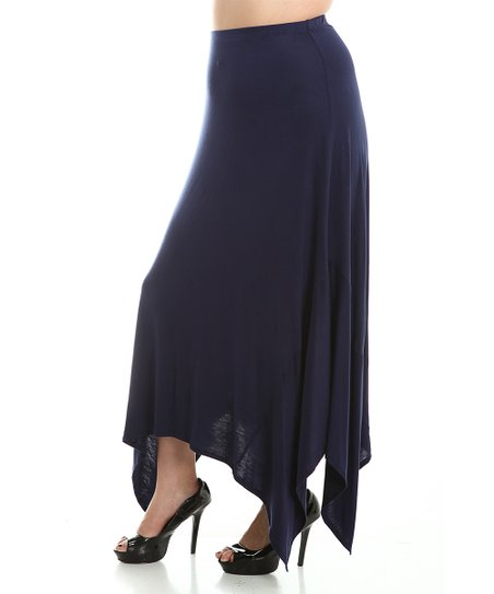 the bloom navy handkerchief maxi skirt plus zulily