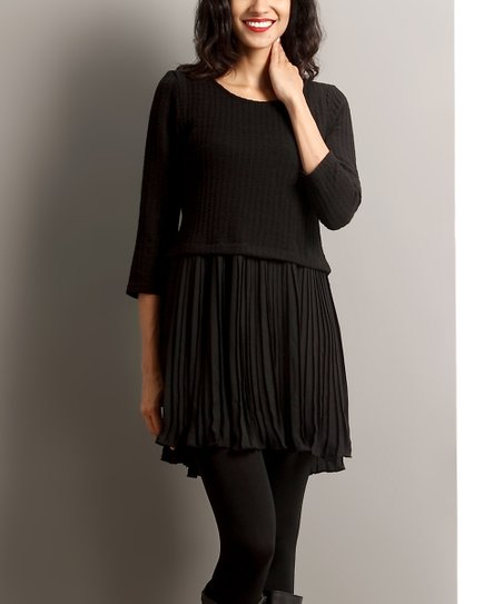 reborn collection black pleated skirt dress zulily