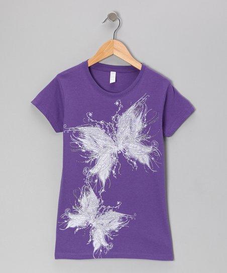 Purple Glitter Butterfly Tee