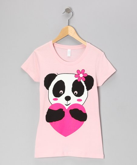 Light Pink Heart Panda Tee