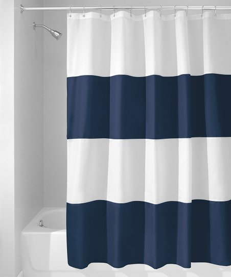 Navy White Zeno Shower Curtain Zulily