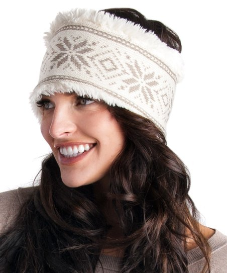 Nordic Headband Knitting Pattern : Ivory Snowflake Nordic Headband - Women