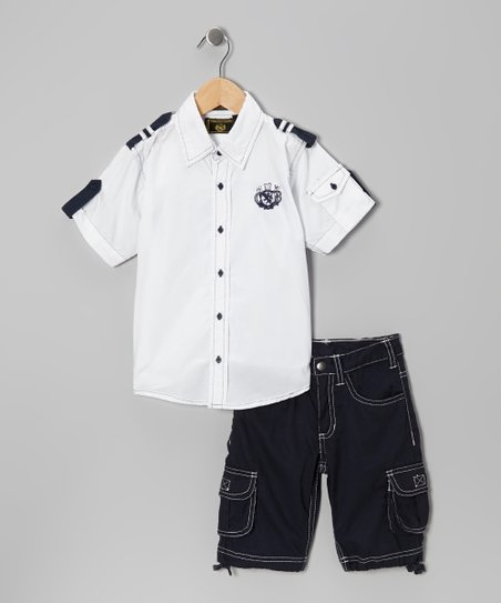 White Nautical Button-Up & Shorts - Infant & Toddler