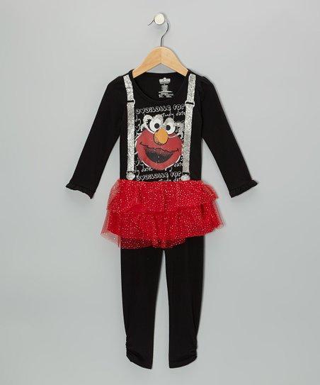Black Elmo Suspenders Tunic & Leggings - Infant & Toddler