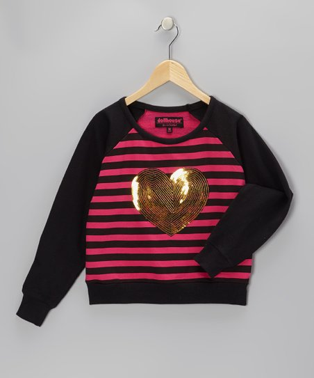 Pink Sequin Heart Raglan Top - Girls