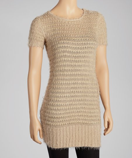 Taupe Knit Ribbed-Trim Tunic Sweater
