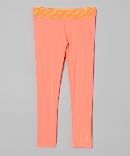 Neon Coral Jacquard Leggings - Girls