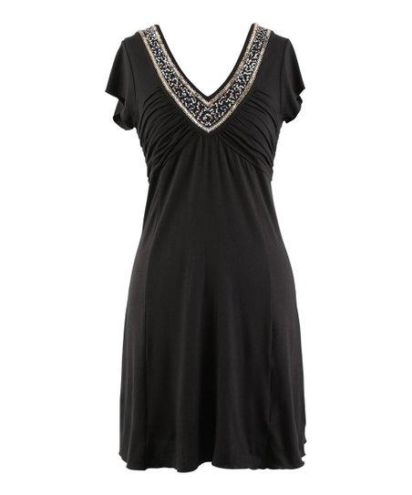 Black Embellished Ruched V-Neck Dress - Women