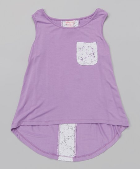 Amethyst & White Lace Pocket Hi-Low Tank - Girls