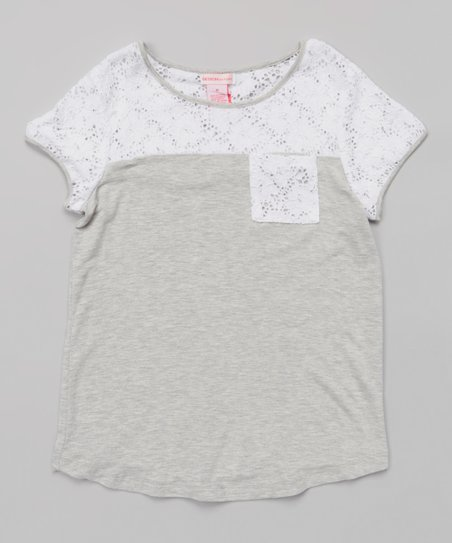 Heather Gray & White Lace Panel Pocket Tunic - Girls