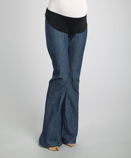 Nicole Maternity Blue Mid-Belly Maternity Flare Jeans - Great Winter Maternity Fashion For A Stylish Pregnancy