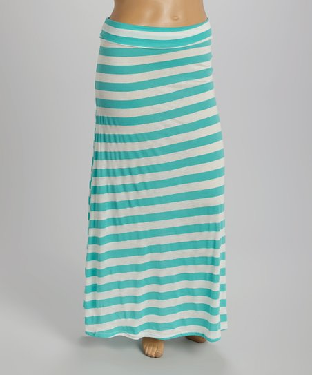 seafoam green white stripe fold maxi skirt plus