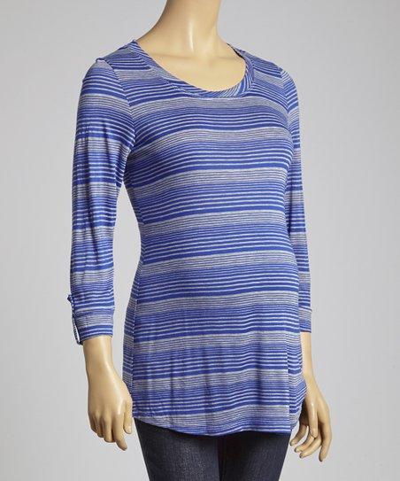 Royal Blue Stripe Roll-Tab Sleeve Maternity Top