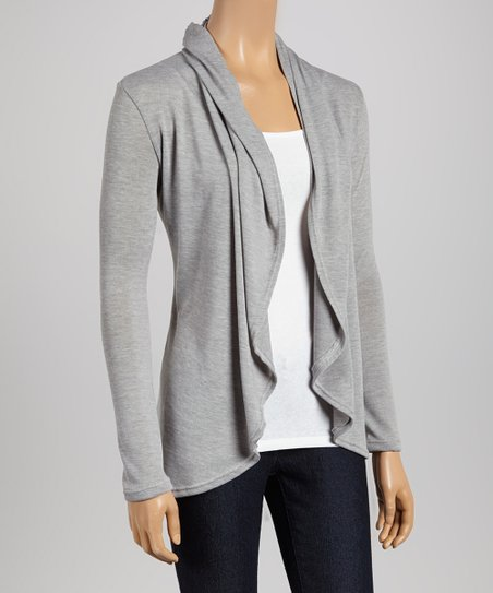 Gray Tapered Open Cardigan