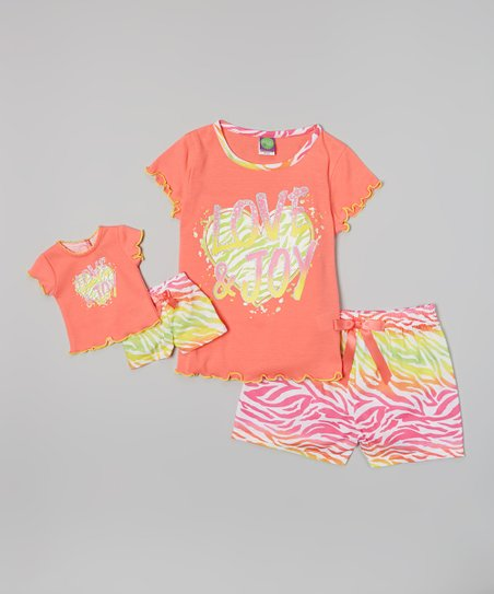 Coral 'Love & Joy' Pajama Set & Doll Outfit - Girls