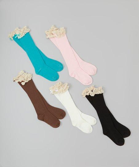 Black & Pink Lace Boot Socks Set