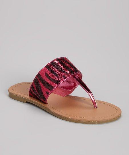 Fuchsia Zebra Sequin Sandal
