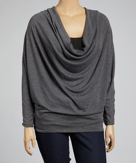 Charcoal Drape Top - Plus
