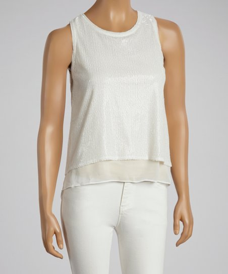White Metallic Sleeveless Top