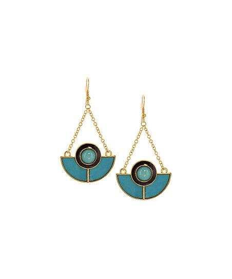 welles jewelry gold teal half circle drop