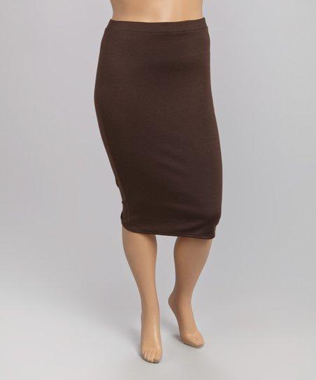 brown pencil skirt plus