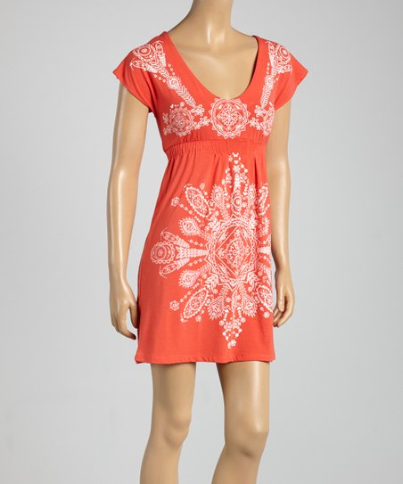 Coral Scoop Neck Empire-Waist Dress