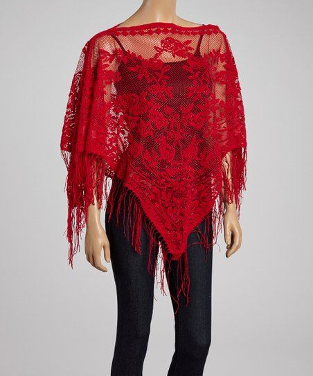 Red Lace Flower Fringe Poncho