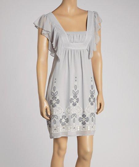 Gray & White Ruffle Embroidered Shift Dress