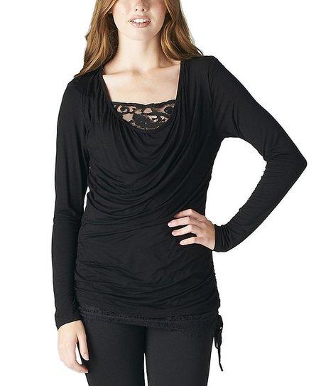 Black Lace-Accent Drape-Neck Top