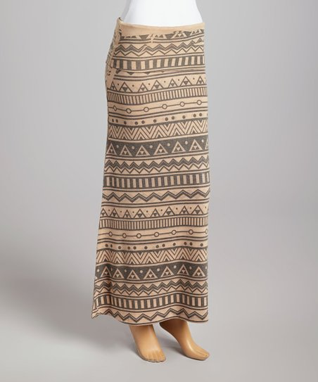 Brown & Black Geometric Fold-Over Maxi Skirt