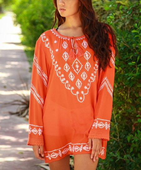 Coral & White Embroidered Tie-Neck Tunic