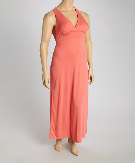 Coral Crossback Maxi Dress - Plus