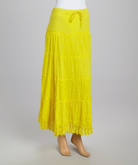 Yellow tiered peasant maxi skirt