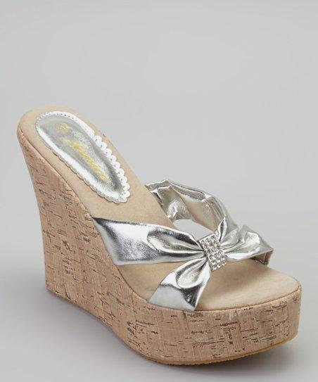 Silver Sassy Wedge Sandal