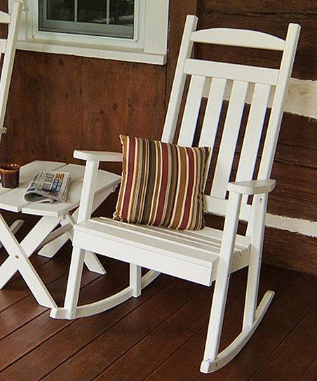 A&L Furniture White Classic Porch Rocking Chair