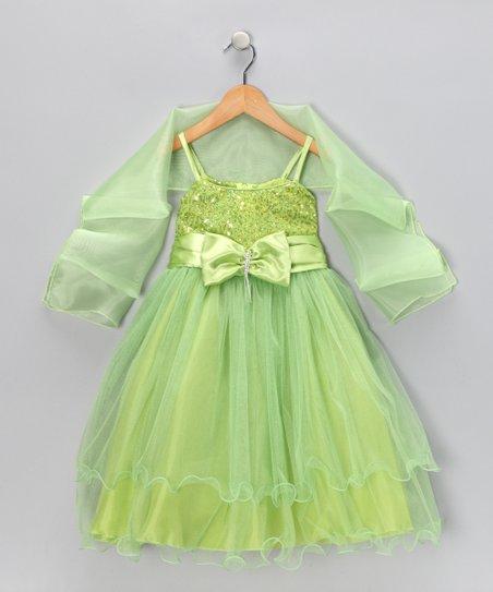Apple Green Bow Dress & Shawl - Toddler & Girls