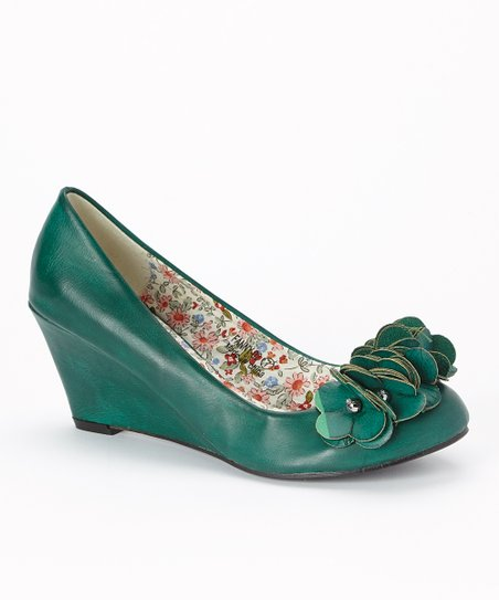 Sea Green Floral Fanny Wedge