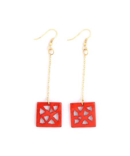 Red Triangle Drop Earrings
