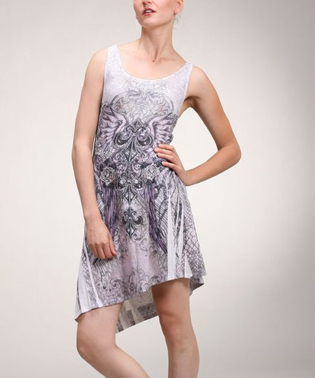 Lavender & Black Angel Crisscross Back Dress