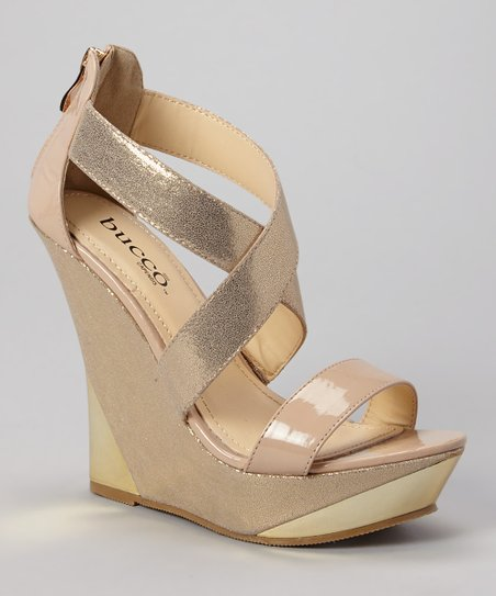 Patent Nude & Gold Bennington Wedge Sandal