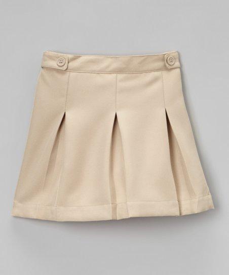khaki pleated scooter skirt
