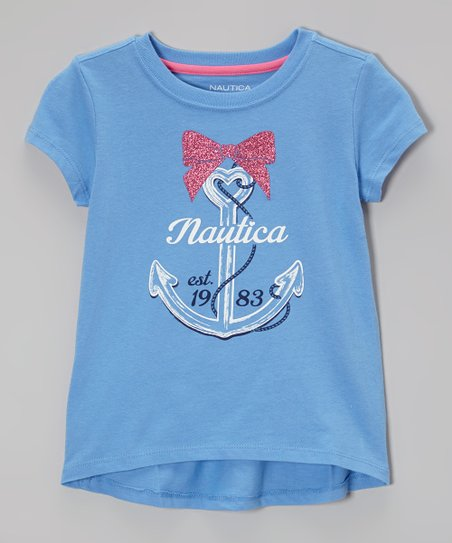 Cornflower Anchor Hi-Low Tee - Girls