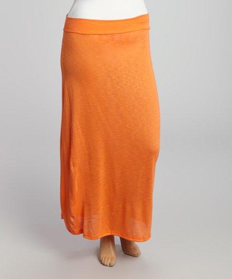 orange maxi skirt plus zulily