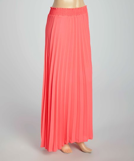 fashion usa neon pink pleated maxi skirt plus zulily