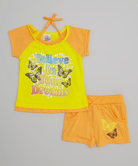 Yellow 'Dreams' Butterfly Tee & Shorts - Infant & Toddler